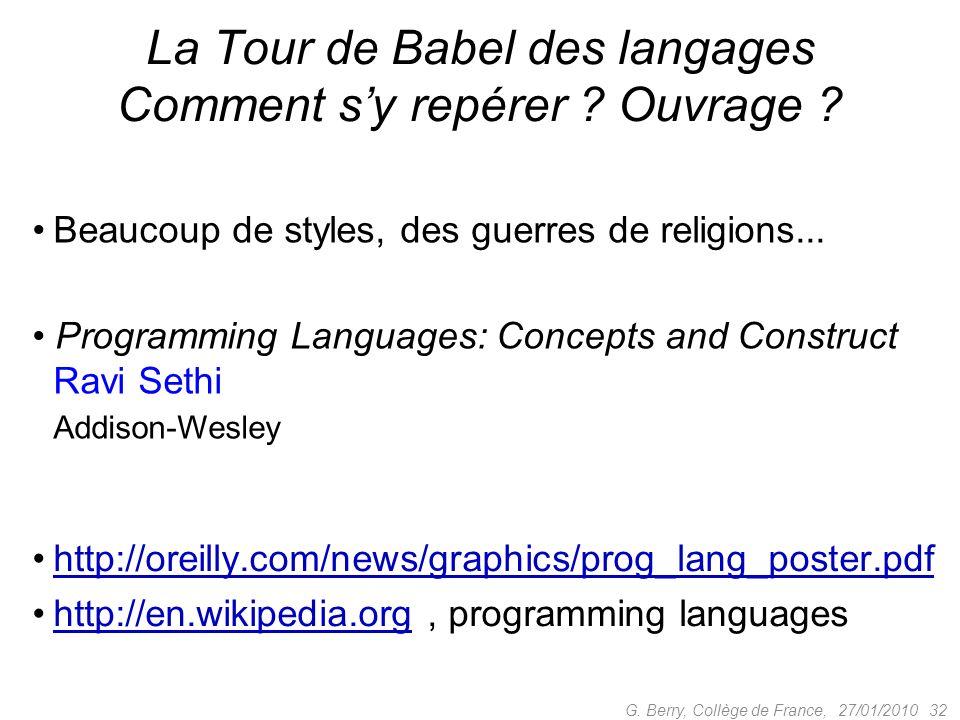 La Tour de Babel des langages Comment sy repérer ? Ouvrage ? 27/01/2010 32 G. Berry, Collège de France, Beaucoup de styles, des guerres de religions..