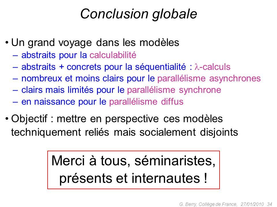 Un grand voyage dans les modèles – abstraits pour la calculabilité – abstraits + concrets pour la séquentialité : -calculs – nombreux et moins clairs