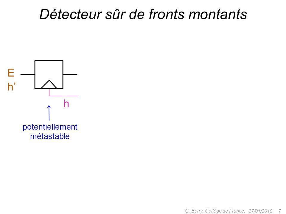 27/01/20107 G. Berry, Collège de France, Détecteur sûr de fronts montants potentiellement métastable EhEh h