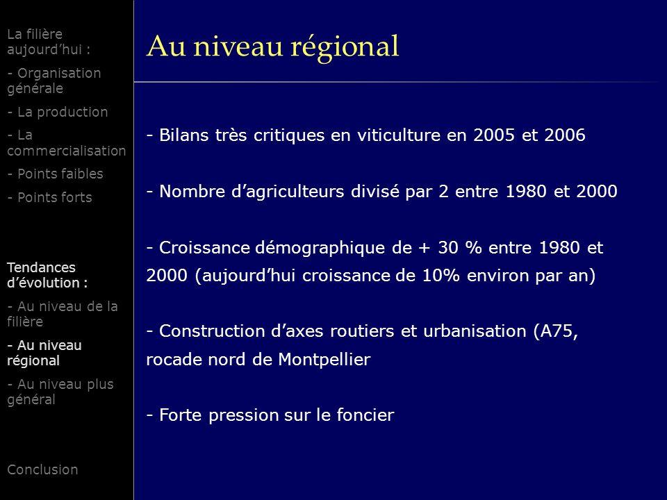 Au niveau régional - Bilans très critiques en viticulture en 2005 et 2006 - Nombre dagriculteurs divisé par 2 entre 1980 et 2000 - Croissance démographique de + 30 % entre 1980 et 2000 (aujourdhui croissance de 10% environ par an) - Construction daxes routiers et urbanisation (A75, rocade nord de Montpellier - Forte pression sur le foncier La filière aujourdhui : - Organisation générale - La production - La commercialisation - Points faibles - Points forts Tendances dévolution : - Au niveau de la filière - Au niveau régional - Au niveau plus général Conclusion