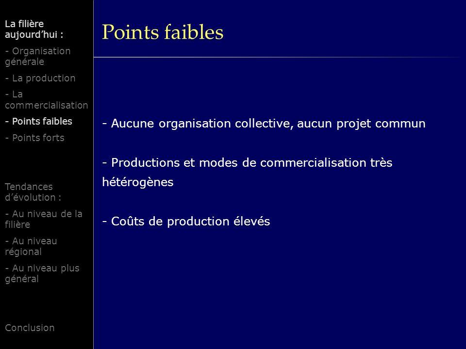 Points faibles - Aucune organisation collective, aucun projet commun - Productions et modes de commercialisation très hétérogènes - Coûts de productio