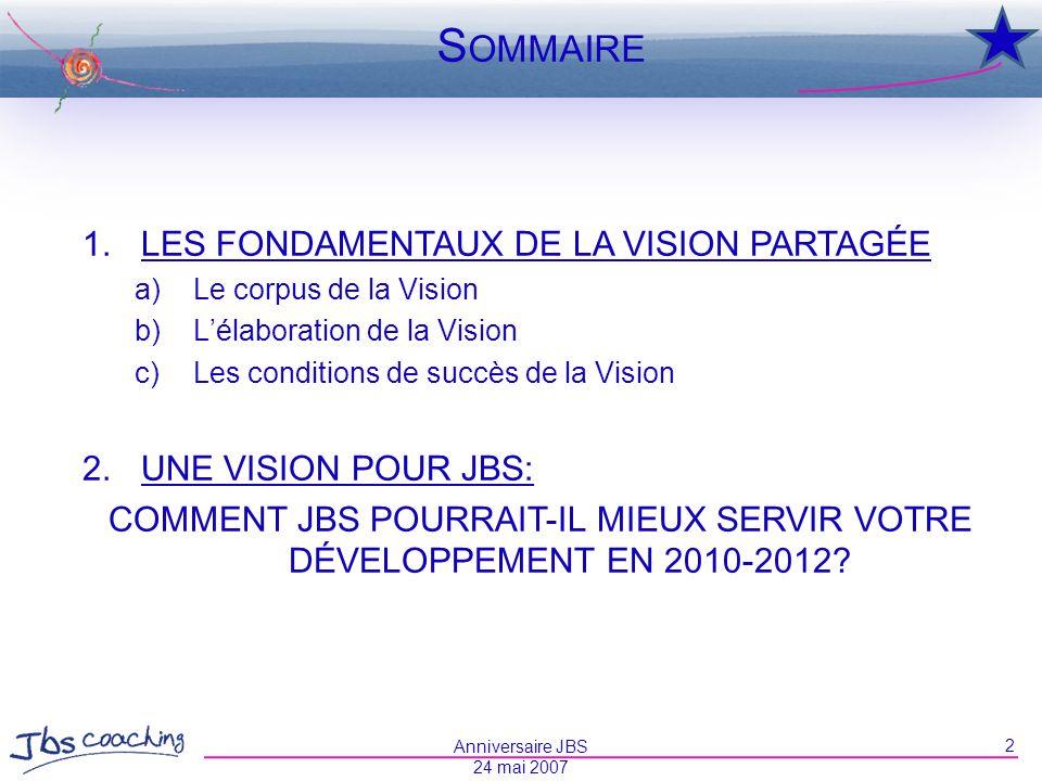 S OMMAIRE 1. LES FONDAMENTAUX DE LA VISION PARTAGÉE a) Le corpus de la Vision b) Lélaboration de la Vision c) Les conditions de succès de la Vision 2.