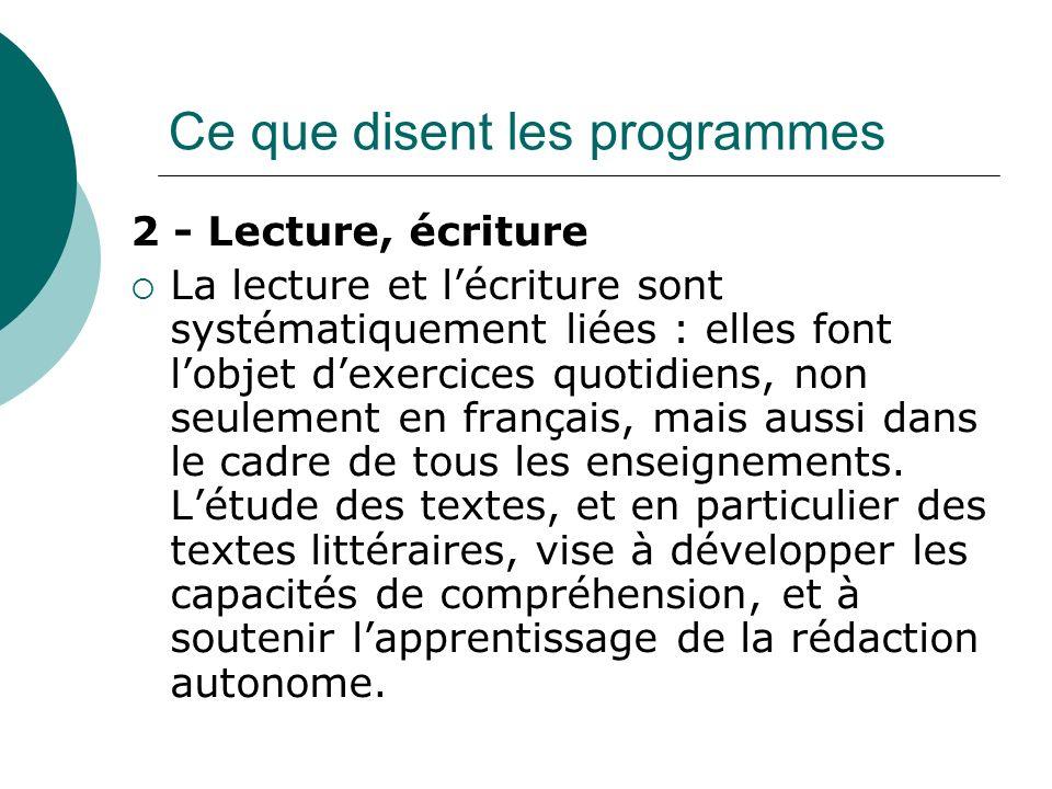 2 - Lecture, écriture La lecture et lécriture sont systématiquement liées : elles font lobjet dexercices quotidiens, non seulement en français, mais aussi dans le cadre de tous les enseignements.