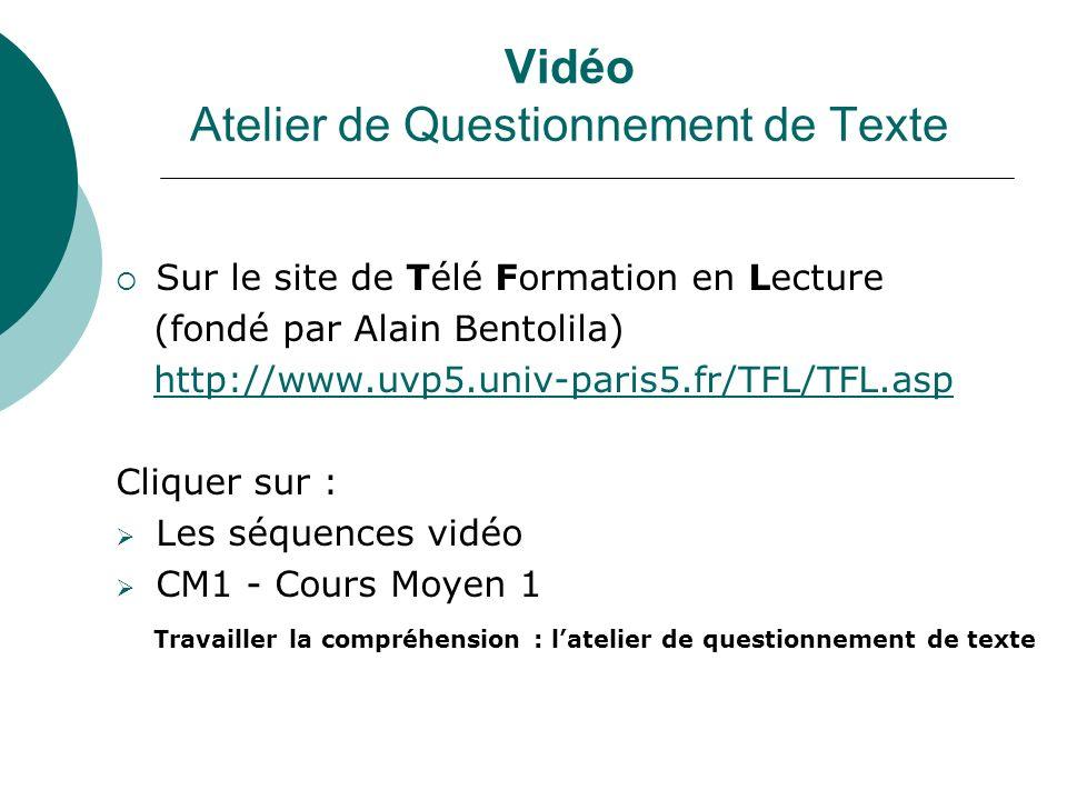 Vidéo Atelier de Questionnement de Texte Sur le site de Télé Formation en Lecture (fondé par Alain Bentolila) http://www.uvp5.univ-paris5.fr/TFL/TFL.asp Cliquer sur : Les séquences vidéo CM1 - Cours Moyen 1 Travailler la compréhension : latelier de questionnement de texte