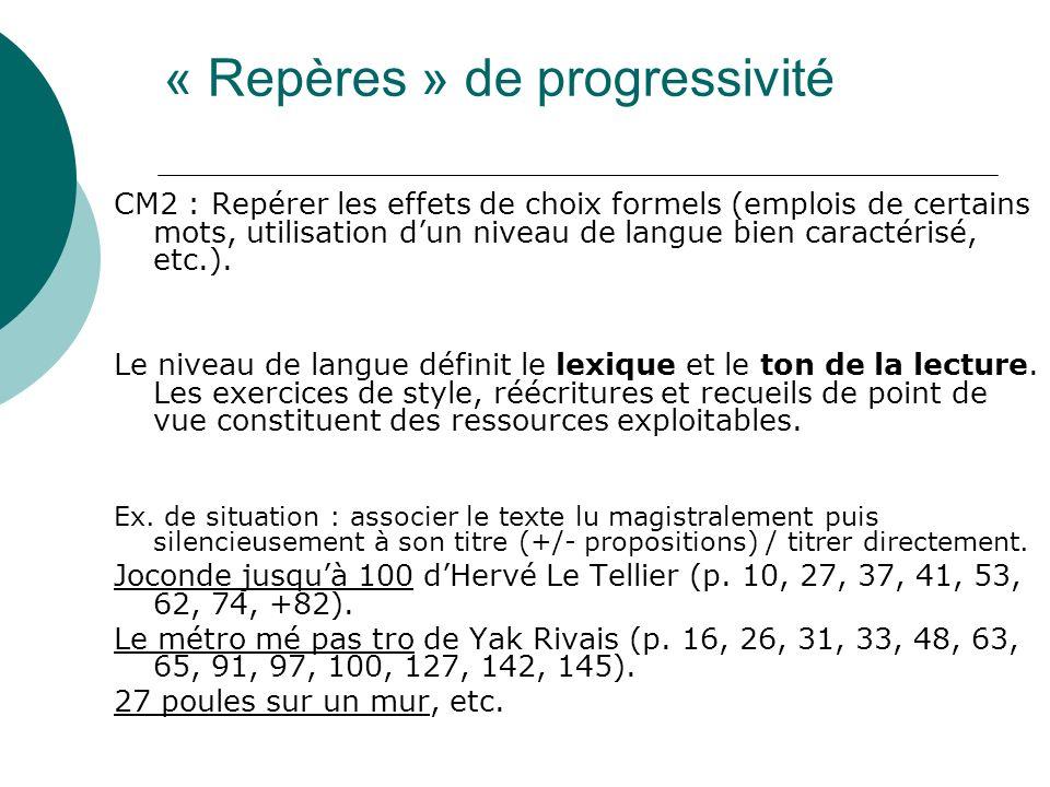 CM2 : Repérer les effets de choix formels (emplois de certains mots, utilisation dun niveau de langue bien caractérisé, etc.).