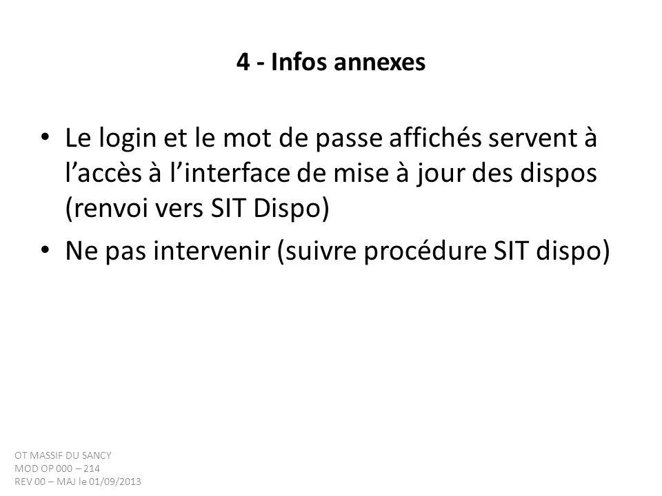 4 - Infos annexes Le login et le mot de passe affichés servent à laccès à linterface de mise à jour des dispos (renvoi vers SIT Dispo) Ne pas interven