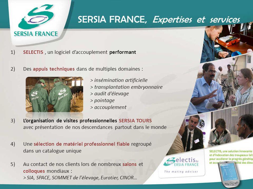 SERSIA FRANCE, Expertises et services 1)SELECTIS, un logiciel daccouplement performant 2)Des appuis techniques dans de multiples domaines : > insémina