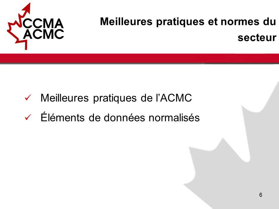 6 Meilleures pratiques et normes du secteur Meilleures pratiques de lACMC Éléments de données normalisés