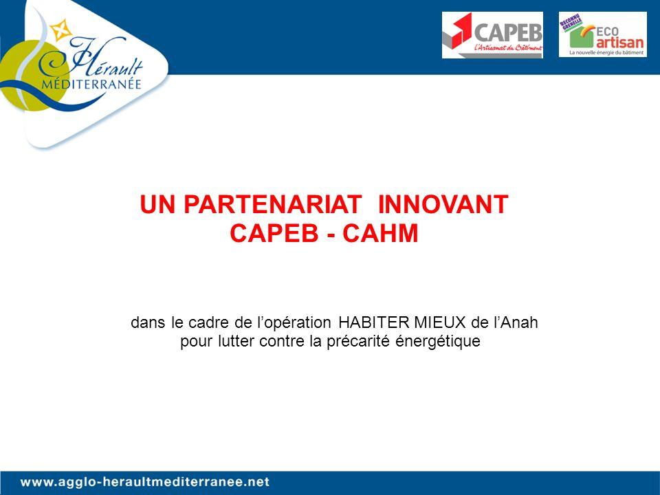 dans le cadre de lopération HABITER MIEUX de lAnah pour lutter contre la précarité énergétique UN PARTENARIAT INNOVANT CAPEB - CAHM