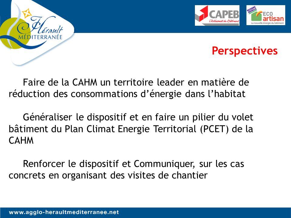 Perspectives Faire de la CAHM un territoire leader en matière de réduction des consommations dénergie dans lhabitat Généraliser le dispositif et en faire un pilier du volet bâtiment du Plan Climat Energie Territorial (PCET) de la CAHM Renforcer le dispositif et Communiquer, sur les cas concrets en organisant des visites de chantier