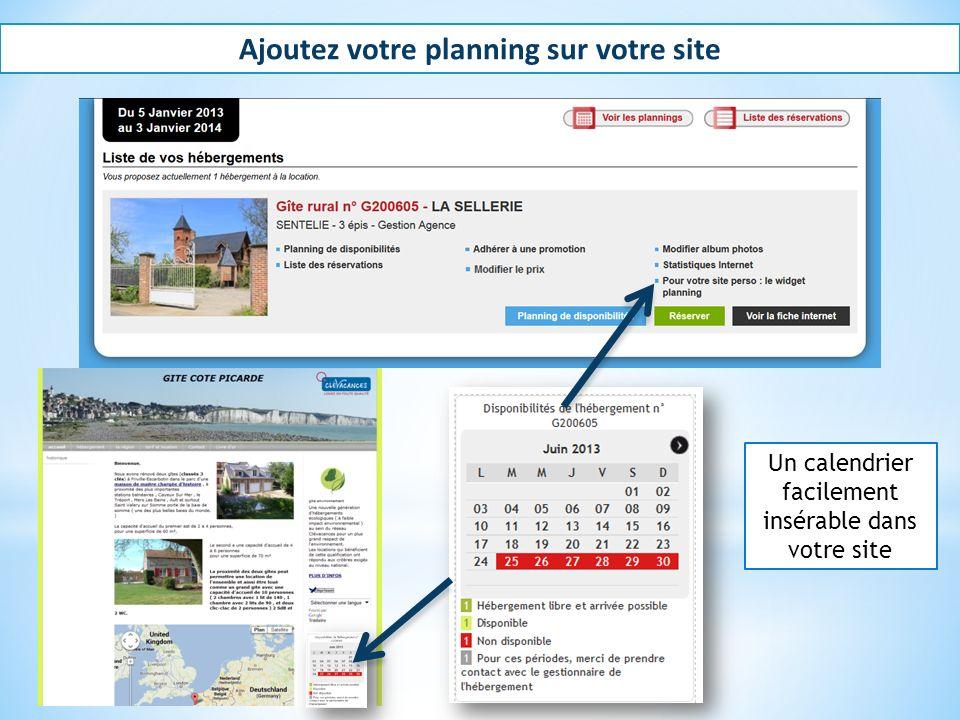 Ajoutez votre planning sur votre site Un calendrier facilement insérable dans votre site
