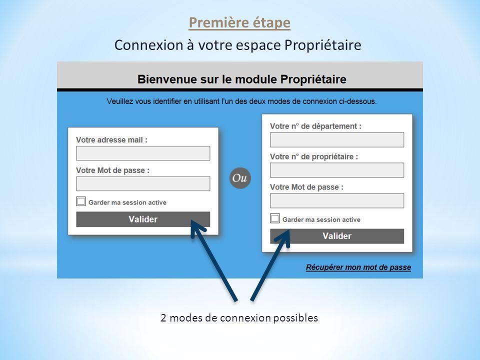 2 modes de connexion possibles Première étape Connexion à votre espace Propriétaire
