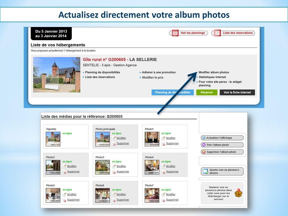 Actualisez directement votre album photos