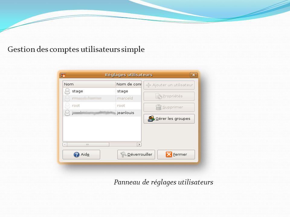 Gestion des comptes utilisateurs simple Panneau de réglages utilisateurs