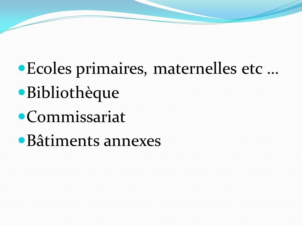 Ecoles primaires, maternelles etc … Bibliothèque Commissariat Bâtiments annexes
