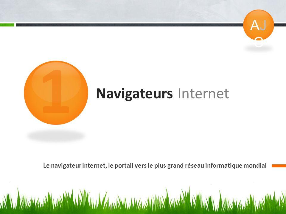 Navigateurs Internet Le navigateur Internet, le portail vers le plus grand réseau informatique mondial 1 AJCAJC