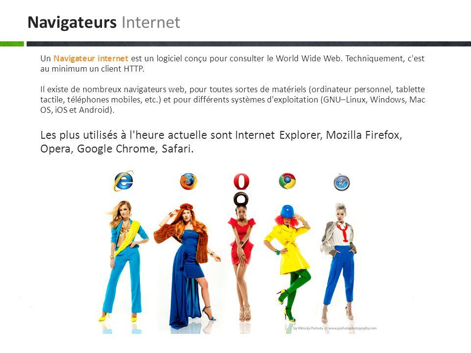 Les plus utilisés à l heure actuelle sont Internet Explorer, Mozilla Firefox, Opera, Google Chrome, Safari.