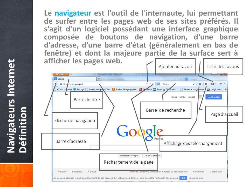 Navigateurs Internet Définition Le navigateur est l outil de l internaute, lui permettant de surfer entre les pages web de ses sites préférés.