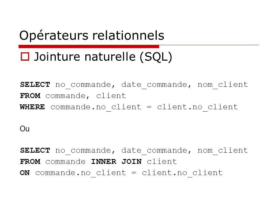 Opérateurs relationnels Jointure naturelle (SQL) SELECT no_commande, date_commande, nom_client FROM commande, client WHERE commande.no_client = client.no_client Ou SELECT no_commande, date_commande, nom_client FROM commande INNER JOIN client ON commande.no_client = client.no_client