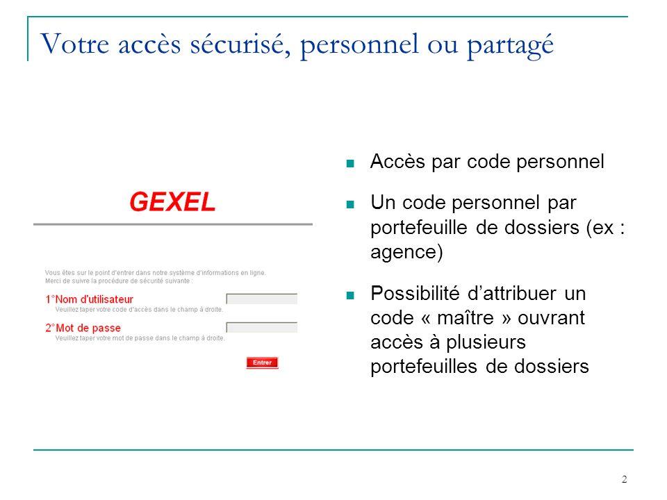 2 Votre accès sécurisé, personnel ou partagé Accès par code personnel Un code personnel par portefeuille de dossiers (ex : agence) Possibilité dattribuer un code « maître » ouvrant accès à plusieurs portefeuilles de dossiers