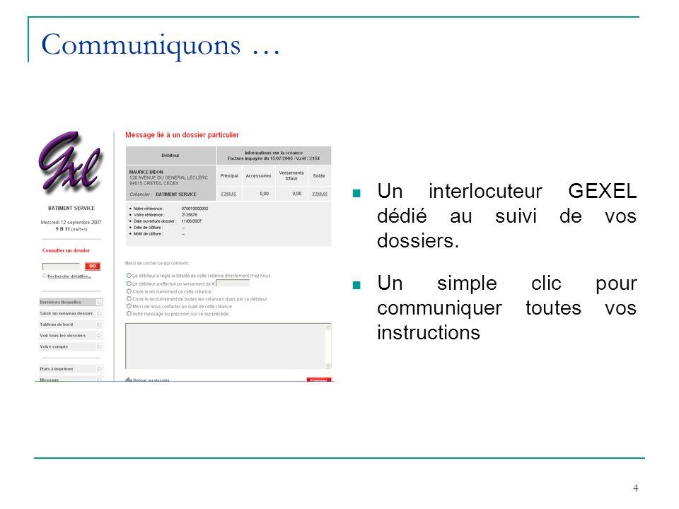 4 Communiquons … Un interlocuteur GEXEL dédié au suivi de vos dossiers.