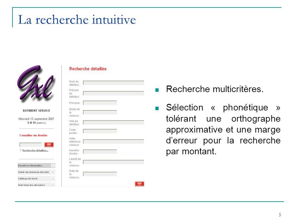 5 La recherche intuitive Recherche multicritères. Sélection « phonétique » tolérant une orthographe approximative et une marge derreur pour la recherc