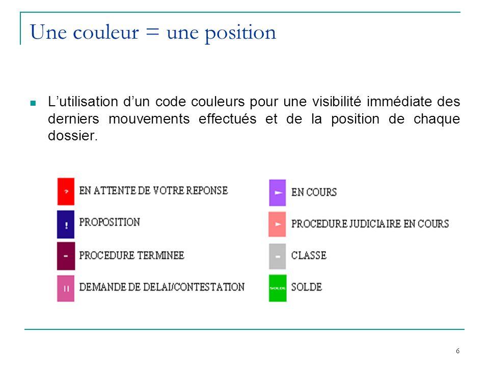 6 Une couleur = une position Lutilisation dun code couleurs pour une visibilité immédiate des derniers mouvements effectués et de la position de chaque dossier.