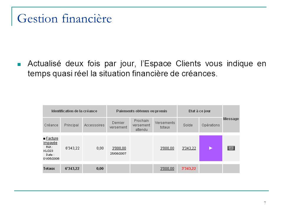 7 Gestion financière Actualisé deux fois par jour, lEspace Clients vous indique en temps quasi réel la situation financière de créances.