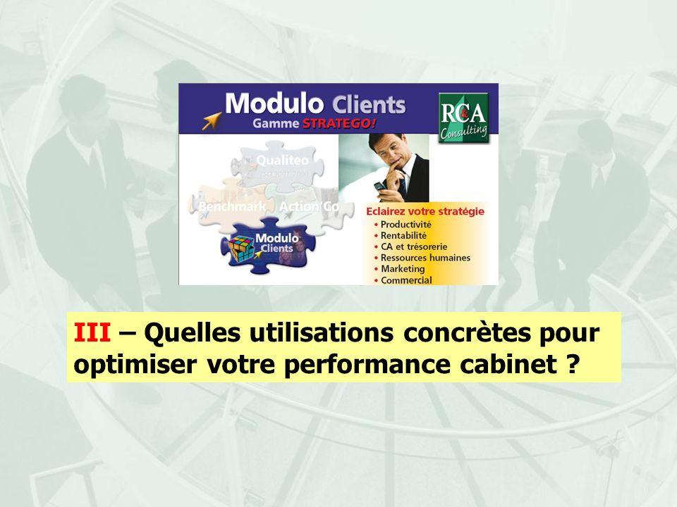 III – Quelles utilisations concrètes pour optimiser votre performance cabinet ?
