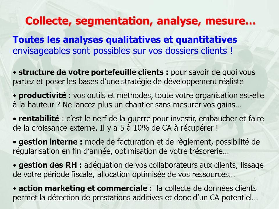 Collecte, segmentation, analyse, mesure… Toutes les analyses qualitatives et quantitatives envisageables sont possibles sur vos dossiers clients ! str