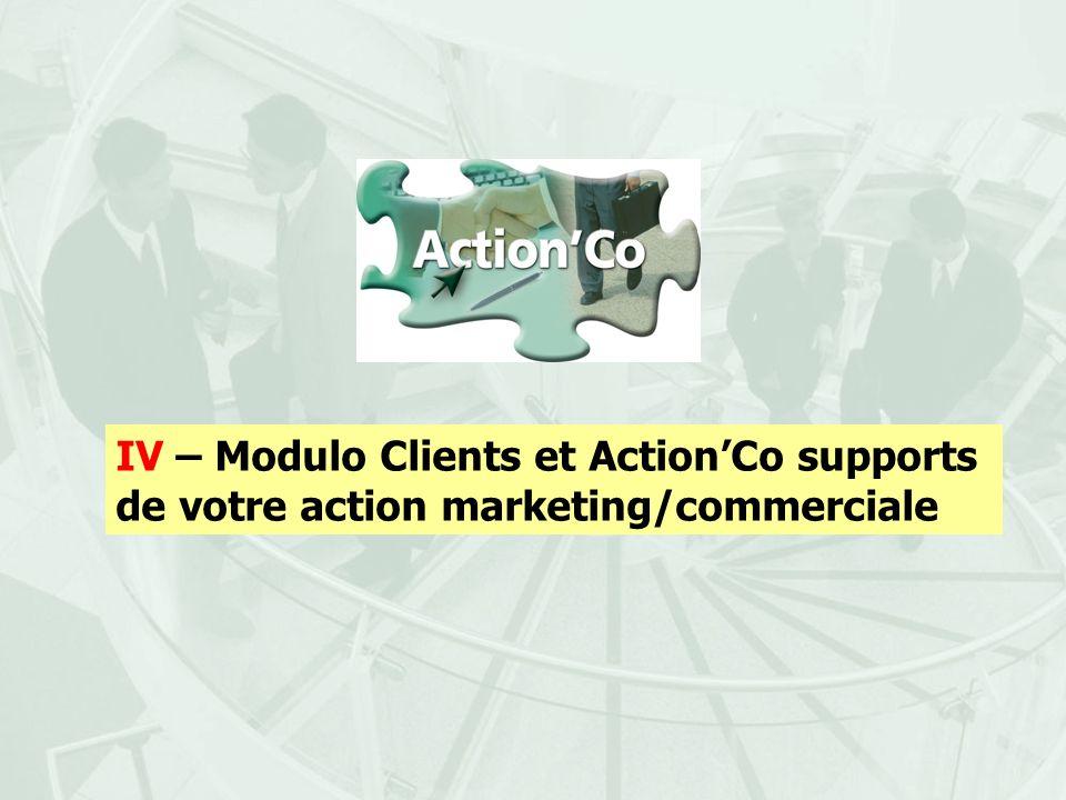 IV – Modulo Clients et ActionCo supports de votre action marketing/commerciale