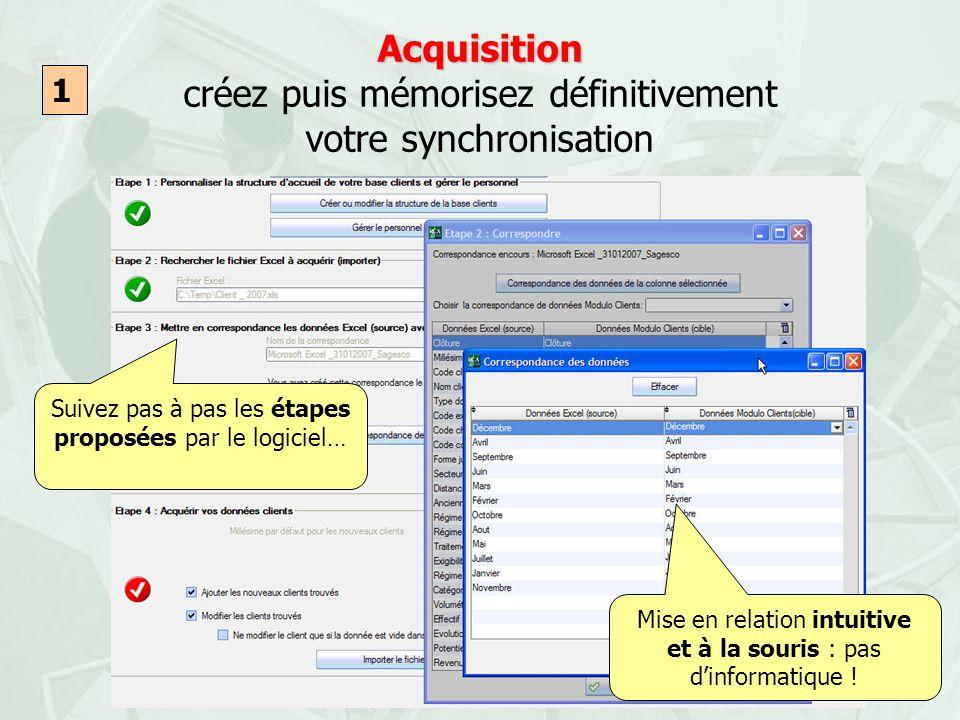 Acquisition Acquisition créez puis mémorisez définitivement votre synchronisation Mise en relation intuitive et à la souris : pas dinformatique ! 1 Su