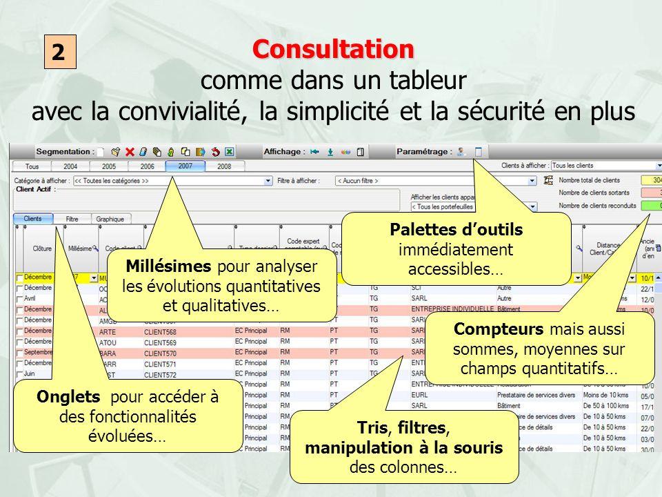 Consultation Consultation comme dans un tableur avec la convivialité, la simplicité et la sécurité en plus 2 Tris, filtres, manipulation à la souris d