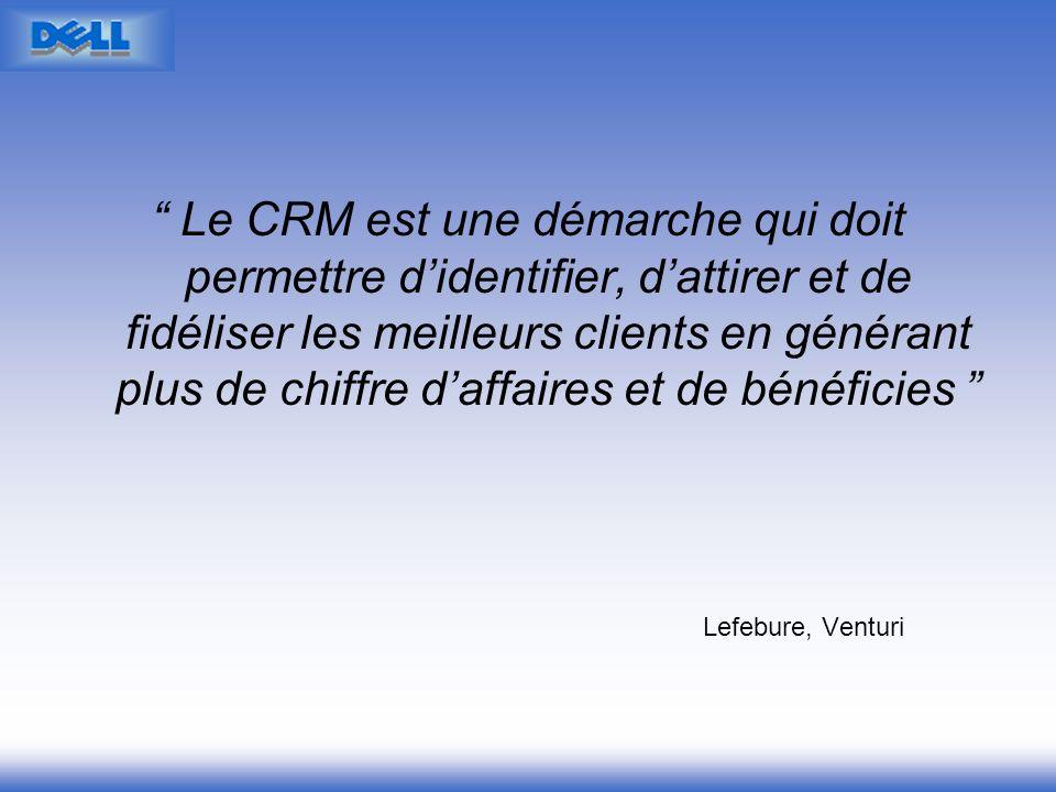 Lefebure, Venturi Le CRM est une démarche qui doit permettre didentifier, dattirer et de fidéliser les meilleurs clients en générant plus de chiffre d