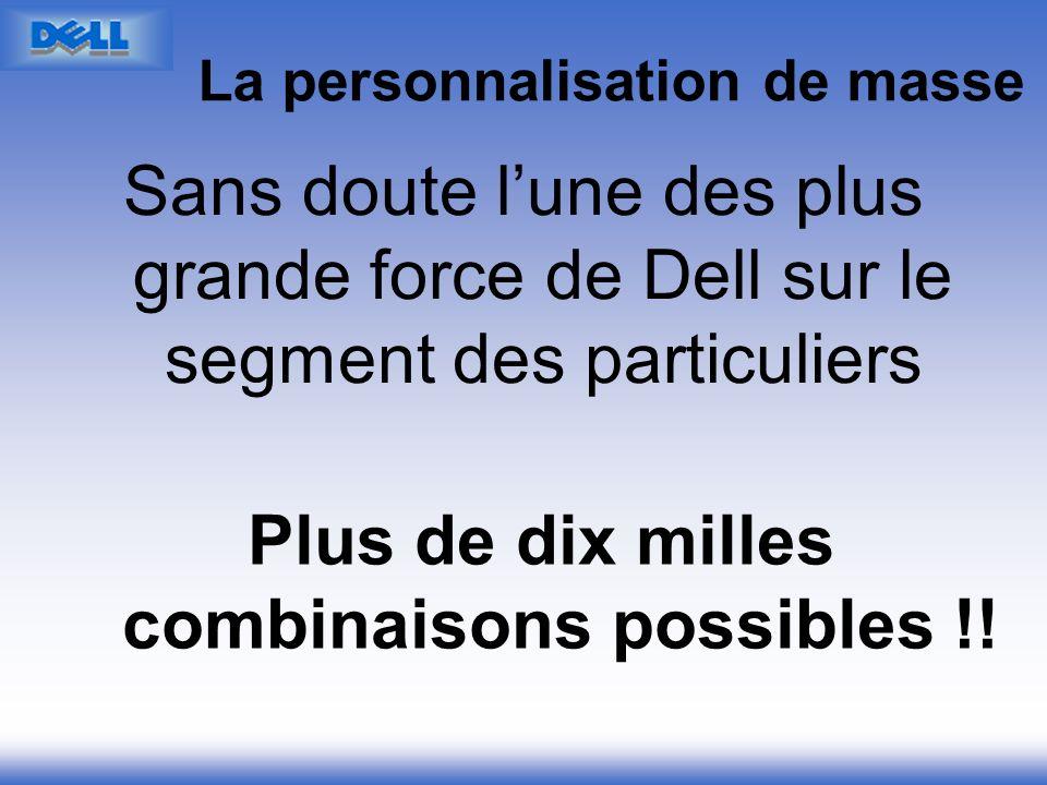 La personnalisation de masse Sans doute lune des plus grande force de Dell sur le segment des particuliers Plus de dix milles combinaisons possibles !