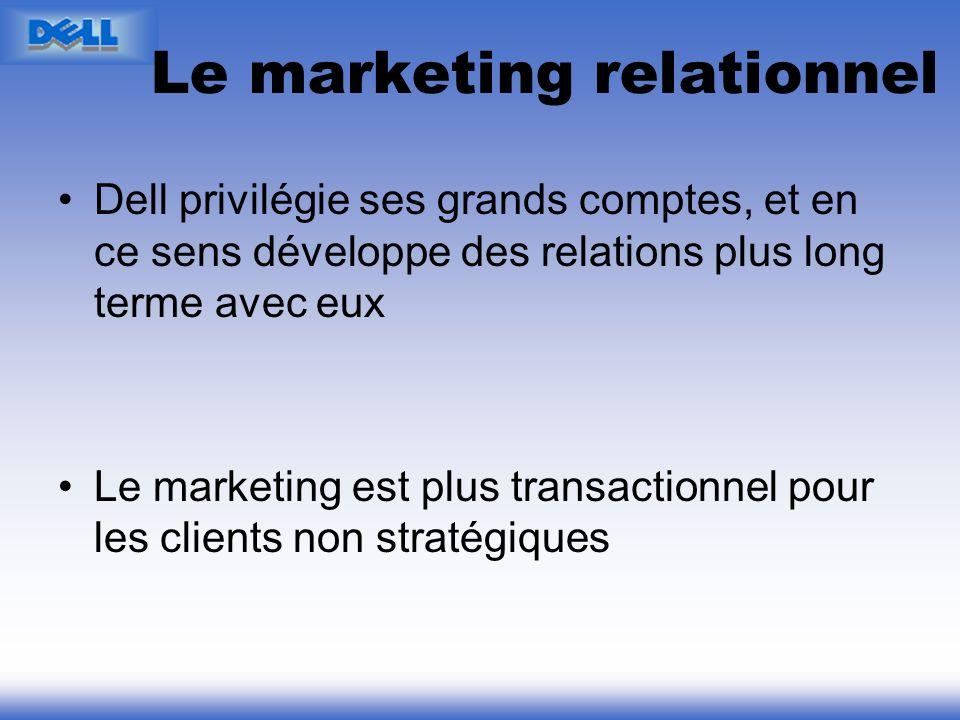Le marketing relationnel Dell privilégie ses grands comptes, et en ce sens développe des relations plus long terme avec eux Le marketing est plus tran