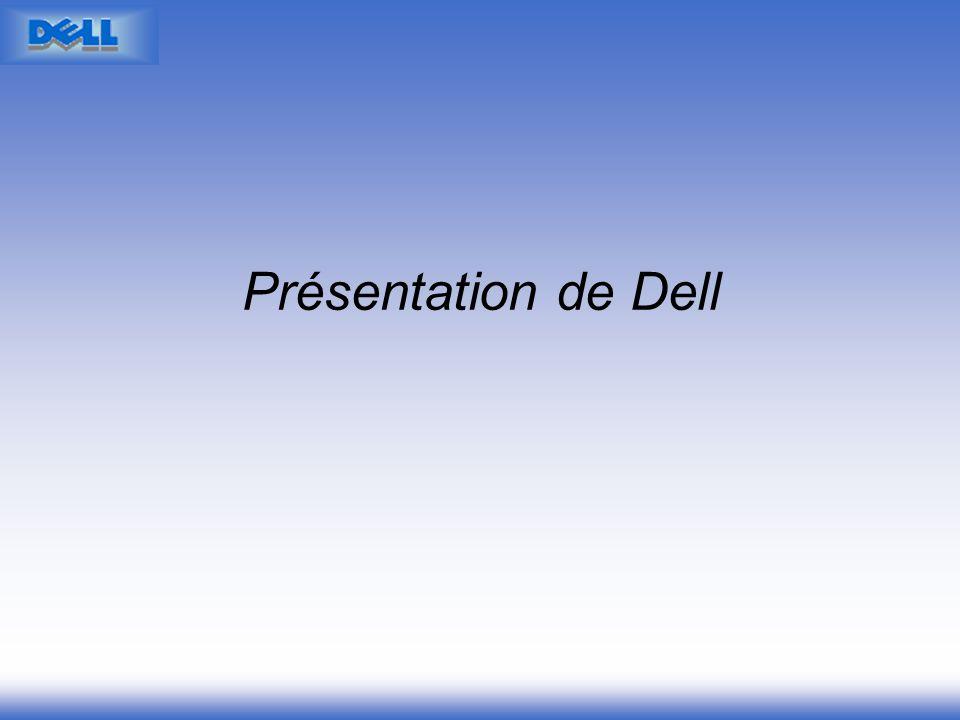 Présentation de DELL Une offre de matériel et de services informatiques pour les entreprises et les particuliers Un circuit de distribution unique en vente directe par téléphone (50%) et Internet (50%) Exception française : 20% par Internet Premier vendeur de PC au monde (PDM 2001 =15%, Objectifs PDM 2006 =40%)