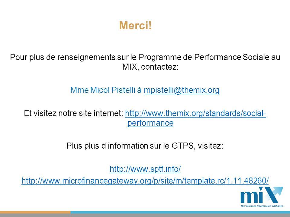 Pour plus de renseignements sur le Programme de Performance Sociale au MIX, contactez: Mme Micol Pistelli à mpistelli@themix.orgmpistelli@themix.org E