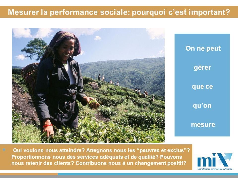 Mesurer la performance sociale: pourquoi cest important? On ne peut gérer que ce quon mesure Qui voulons nous atteindre? Attegnons nous les pauvres et