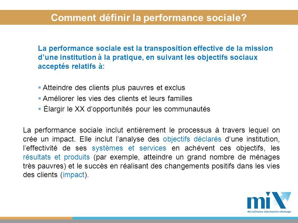 La performance sociale est la transposition effective de la mission dune institution à la pratique, en suivant les objectifs sociaux acceptés relatifs