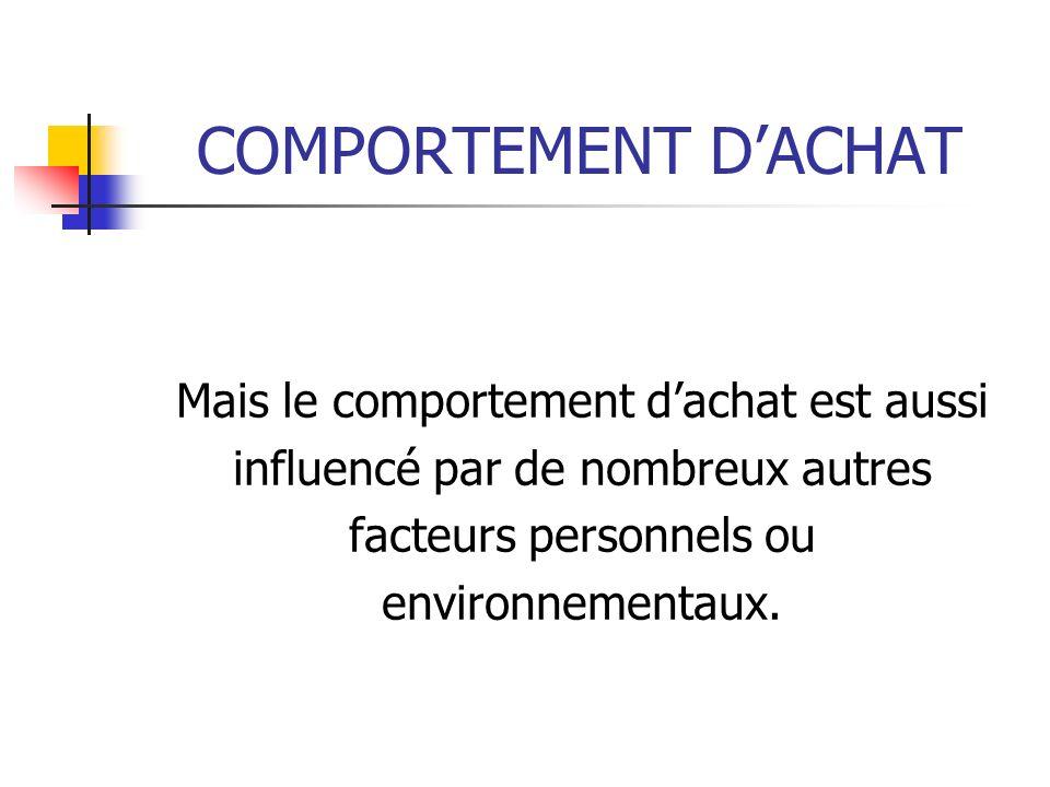 COMPORTEMENT DACHAT Mais le comportement dachat est aussi influencé par de nombreux autres facteurs personnels ou environnementaux.