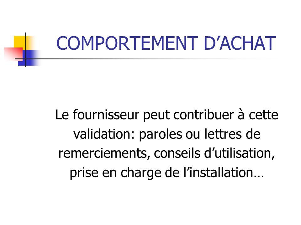COMPORTEMENT DACHAT Le fournisseur peut contribuer à cette validation: paroles ou lettres de remerciements, conseils dutilisation, prise en charge de