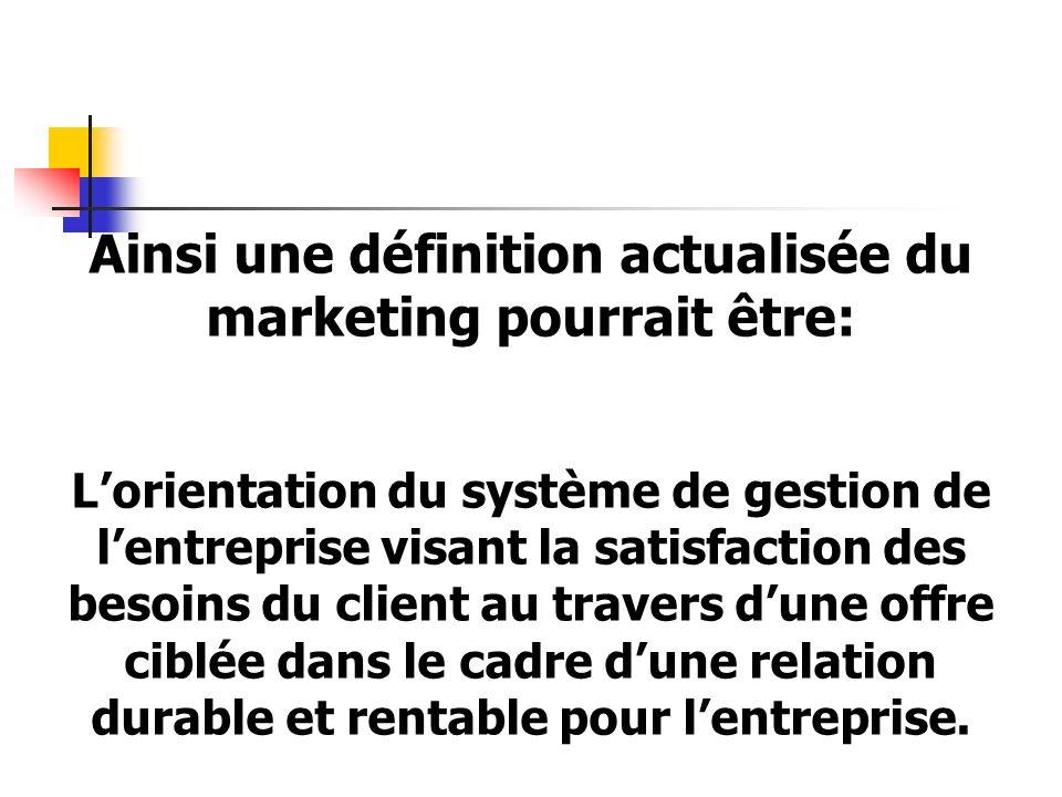 Ainsi une définition actualisée du marketing pourrait être: Lorientation du système de gestion de lentreprise visant la satisfaction des besoins du client au travers dune offre ciblée dans le cadre dune relation durable et rentable pour lentreprise.
