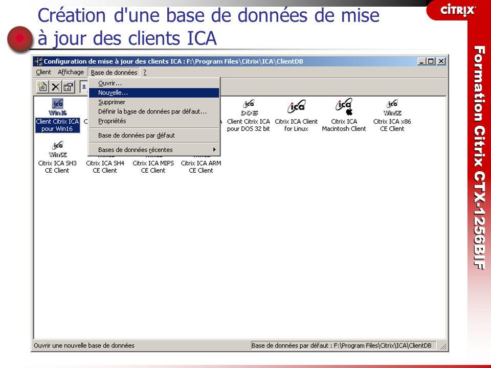 Formation Citrix CTX-1256BIF Création d'une base de données de mise à jour des clients ICA
