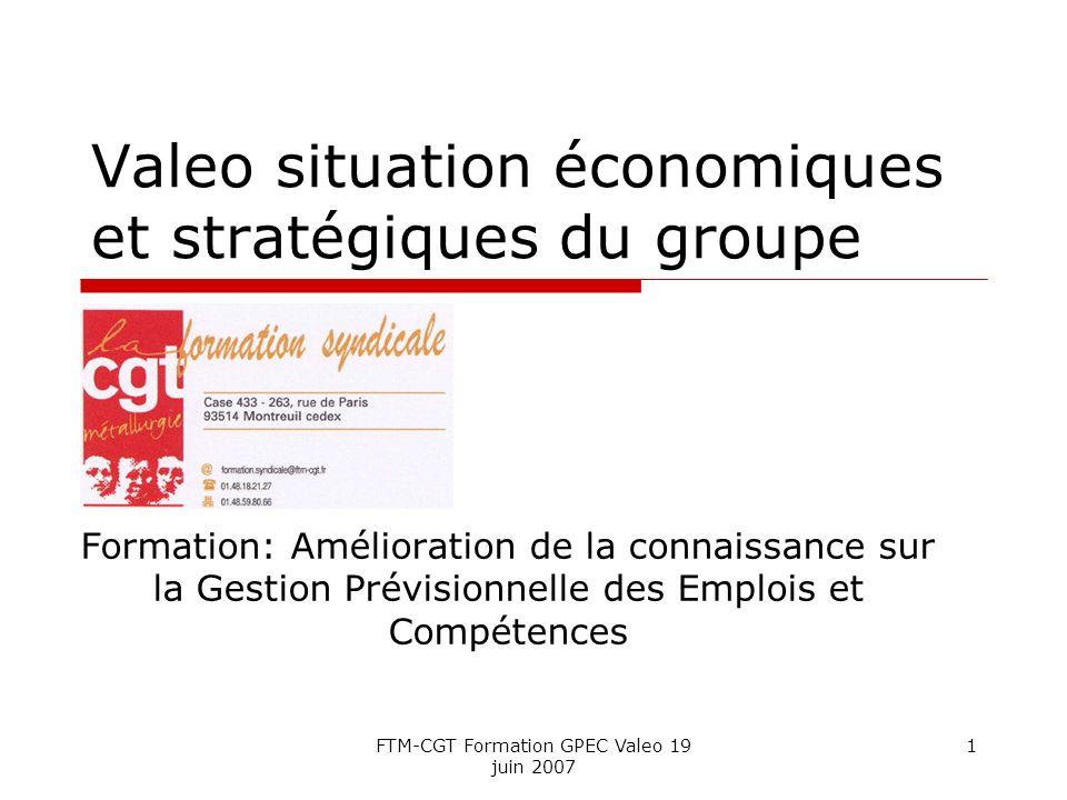 FTM-CGT Formation GPEC Valeo 19 juin 2007 1 Valeo situation économiques et stratégiques du groupe Formation: Amélioration de la connaissance sur la Gestion Prévisionnelle des Emplois et Compétences