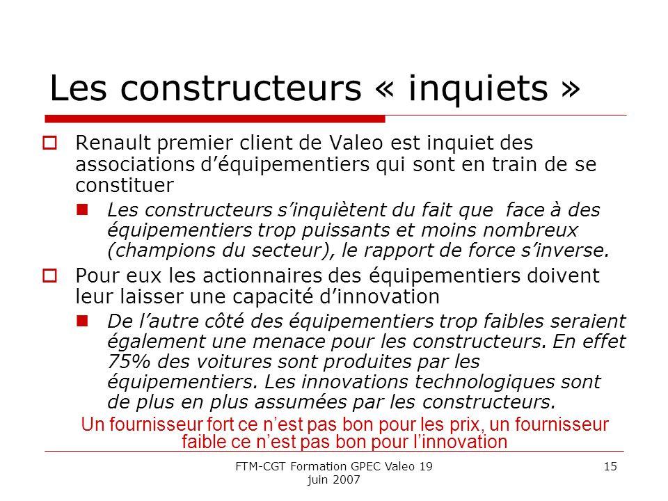 FTM-CGT Formation GPEC Valeo 19 juin 2007 15 Les constructeurs « inquiets » Renault premier client de Valeo est inquiet des associations déquipementie