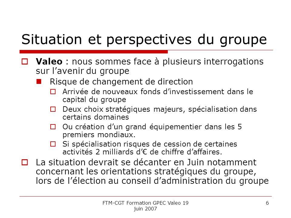 FTM-CGT Formation GPEC Valeo 19 juin 2007 6 Situation et perspectives du groupe Valeo : nous sommes face à plusieurs interrogations sur lavenir du gro