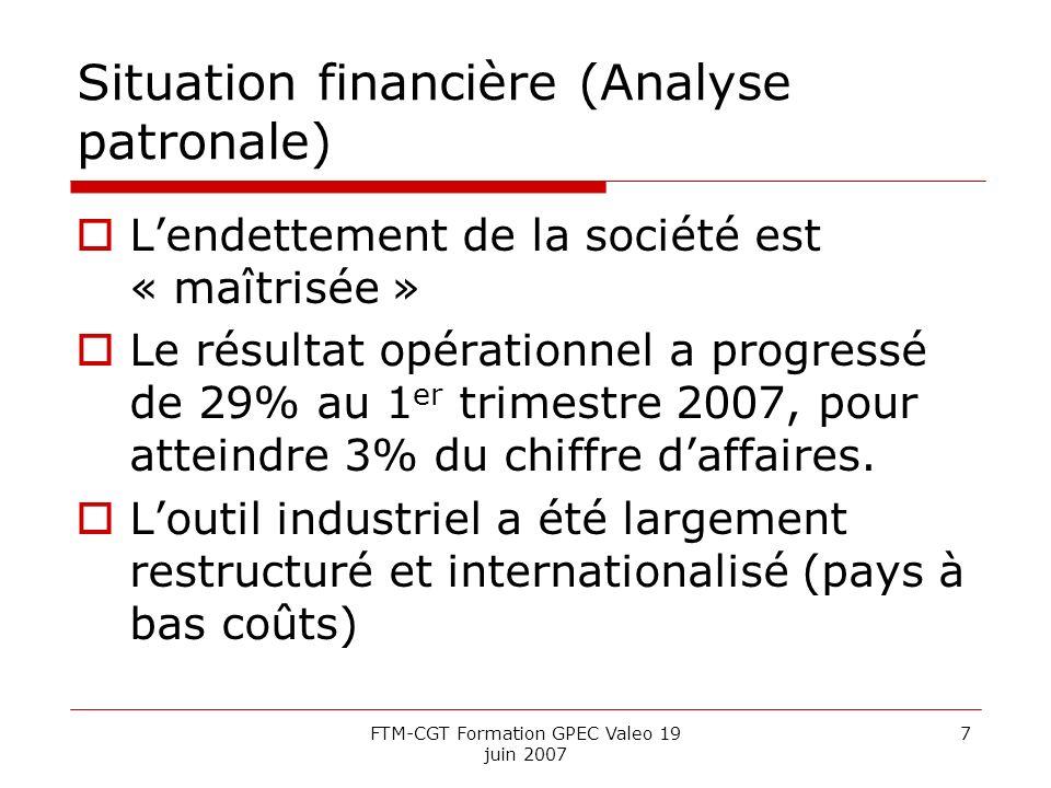 FTM-CGT Formation GPEC Valeo 19 juin 2007 7 Situation financière (Analyse patronale) Lendettement de la société est « maîtrisée » Le résultat opérationnel a progressé de 29% au 1 er trimestre 2007, pour atteindre 3% du chiffre daffaires.
