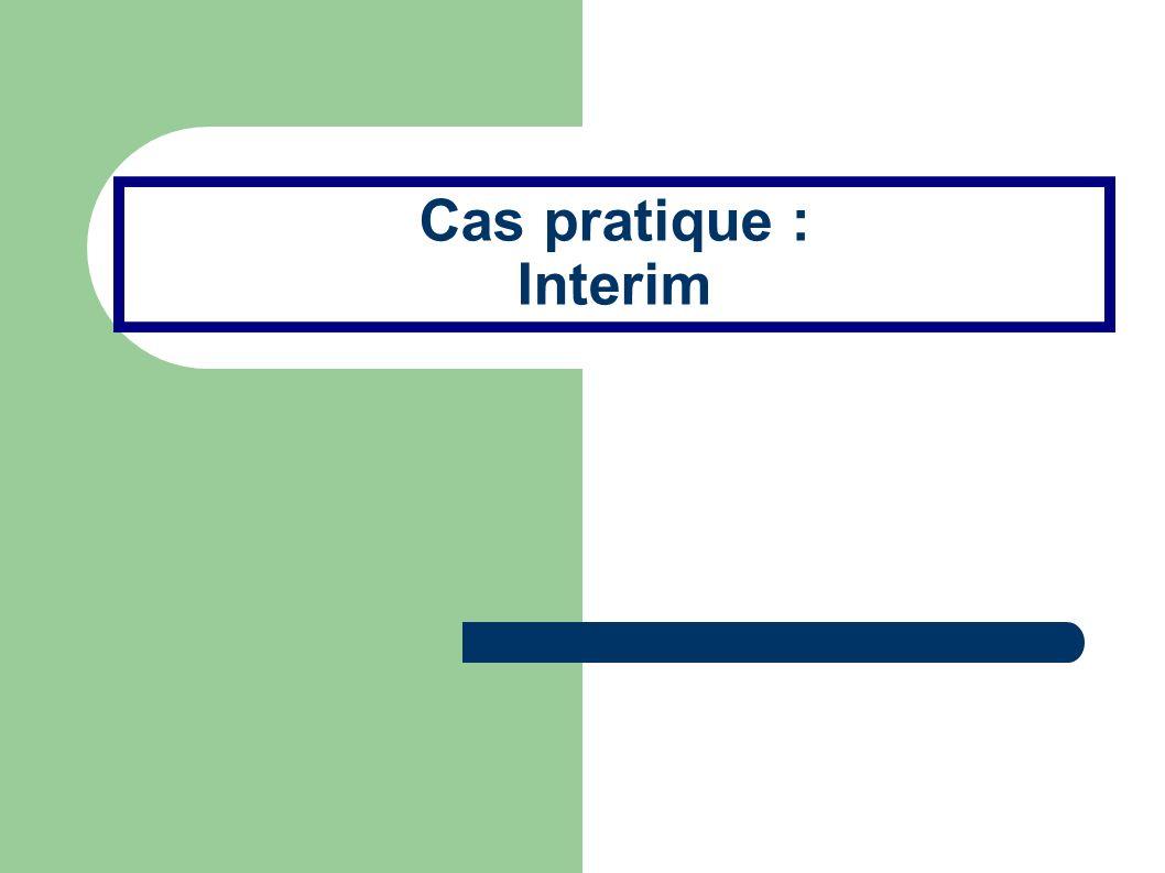 Les données Une société d intérim met à disposition de ses clients des personnels intérimaires.