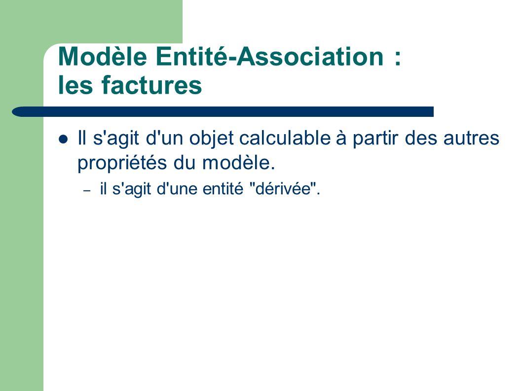 Modèle Entité-Association : les factures Il s agit d un objet calculable à partir des autres propriétés du modèle.